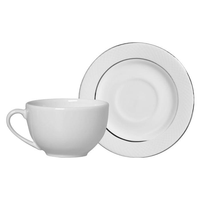 Xícara de Chá 01 Peça Relevo Prata Filetadas à Mão Alleanza