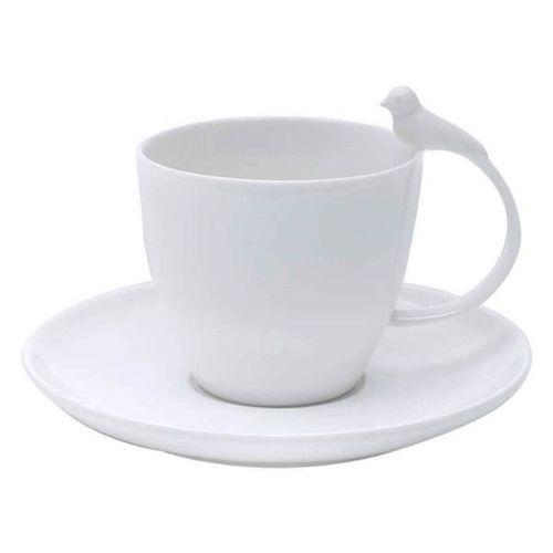 Xícara de Chá com Pires 01 Peça Birds 200 ml Porcelana Wolff
