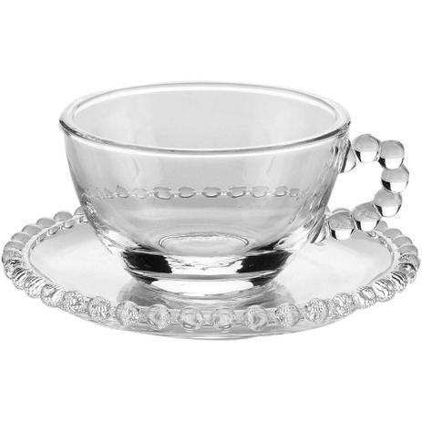 Xícara de Chá com Pires 01 Peça Pearl Cristal 200 ml Wolff