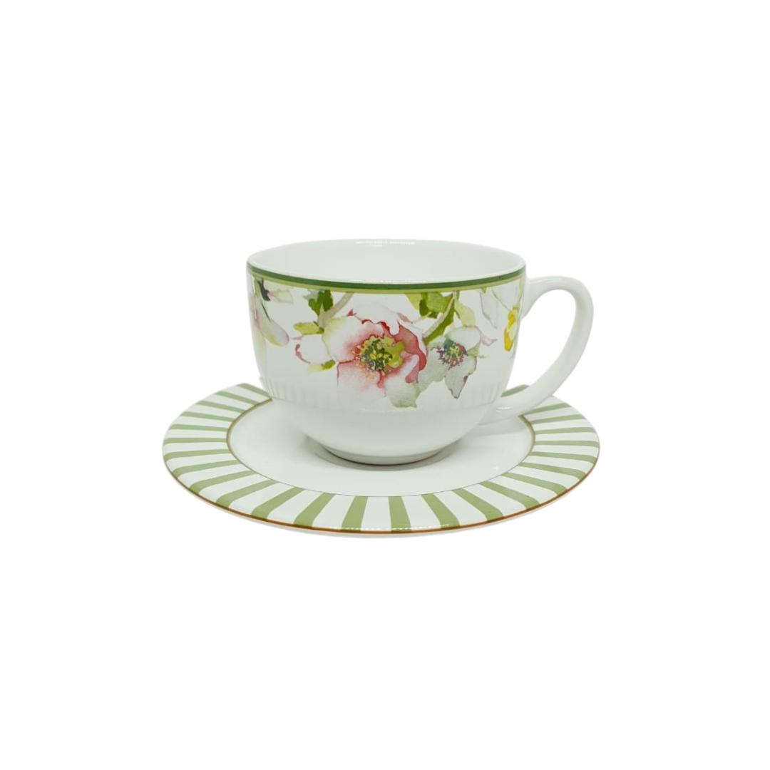 Xícara de Chá com Pires Decorado Branco com Verde Floral Retrô