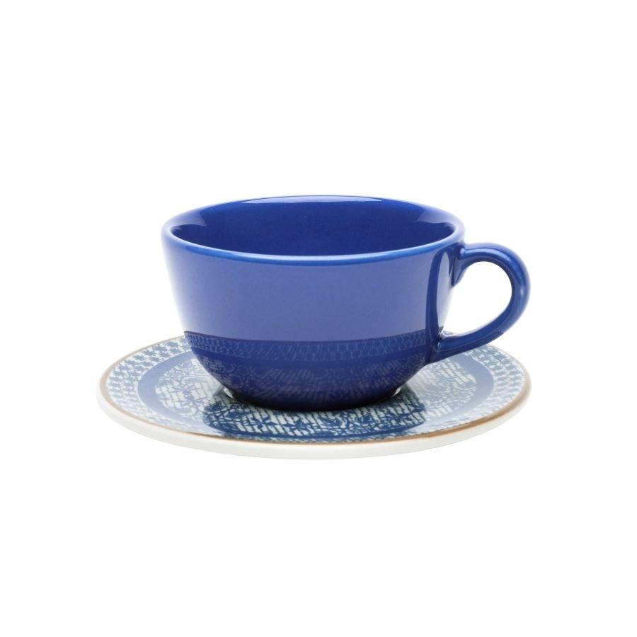 Xícara de Chá com Pires Unni Jeans 200ml Oxford Porcelanas