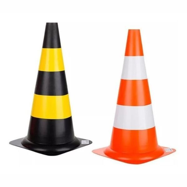 Cone KCC PVC Rigido Preto/Amarelo 75cm