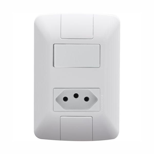 Conjunto Elétrico Tramontina 57241/044 Aria 1 Interruptor Simples 6A + Tomada 20A Branco