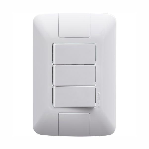 Conjunto Elétrico Tramontina 57241/070 Aria 3 Interruptores Simples 6A 250v Branco