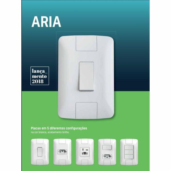 Conjunto Elétrico Tramontina 57241/086 Aria 1 Interruptor Simples + 2 Tomadas 20A Branco