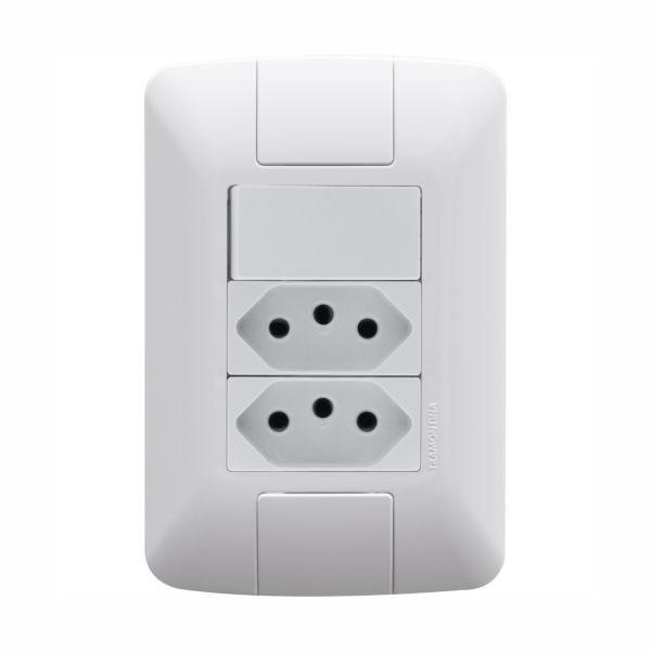 Conjunto Elétrico Tramontina 57241/087 Aria 1 Interruptor Simples + 2 Tomadas 10A Branco