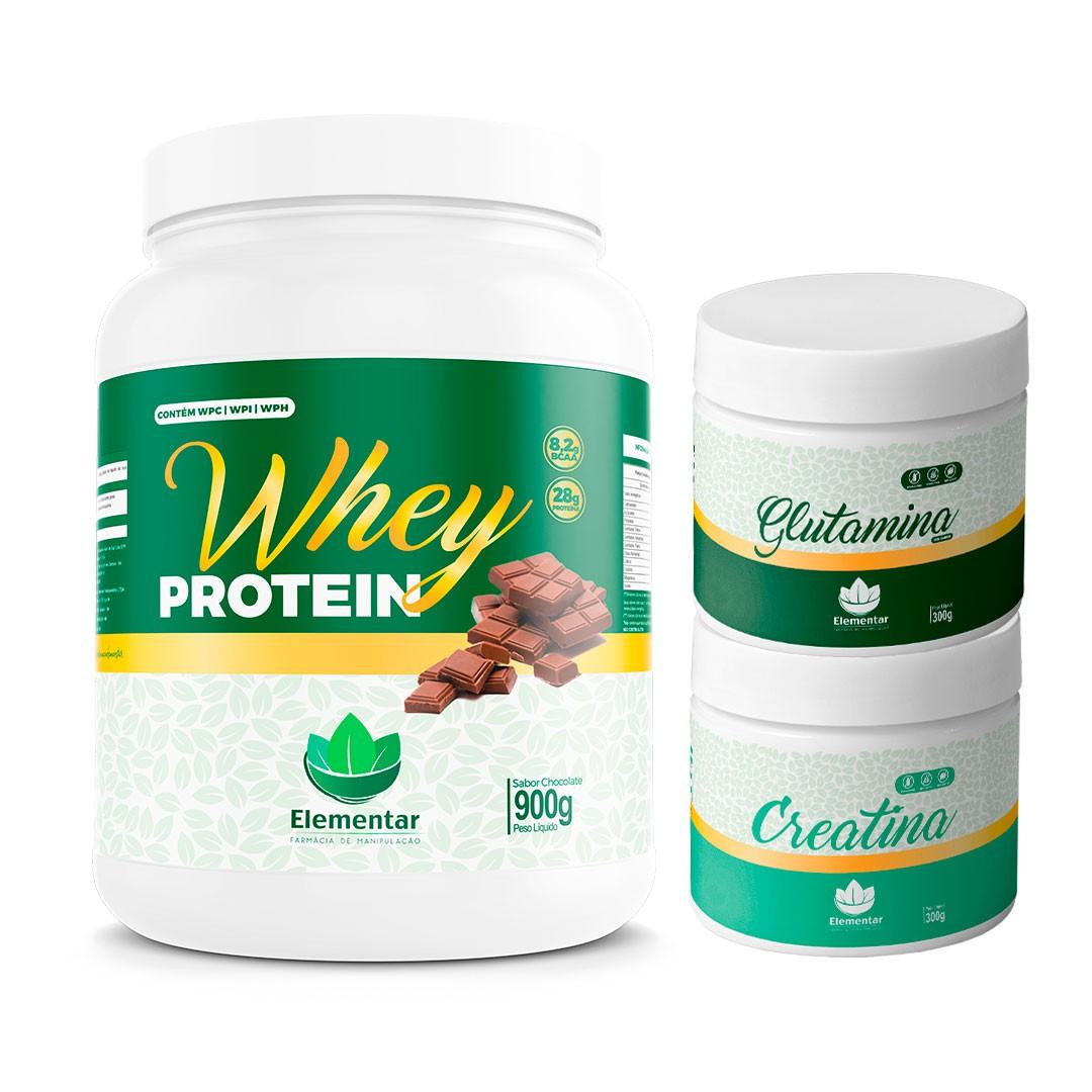 Kit  Whey (Chocolate) + Creatina + Glutamina | Ganhe Coqueteleira