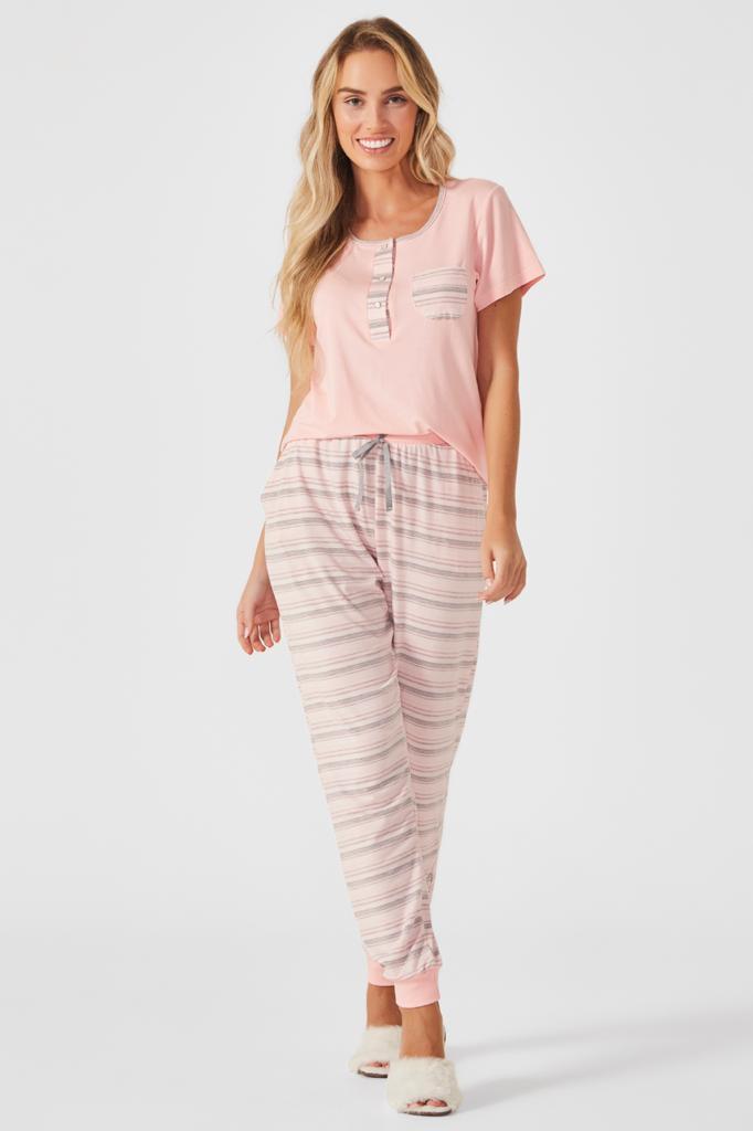 Pijama Longo Camisa Peitilho Barbarella
