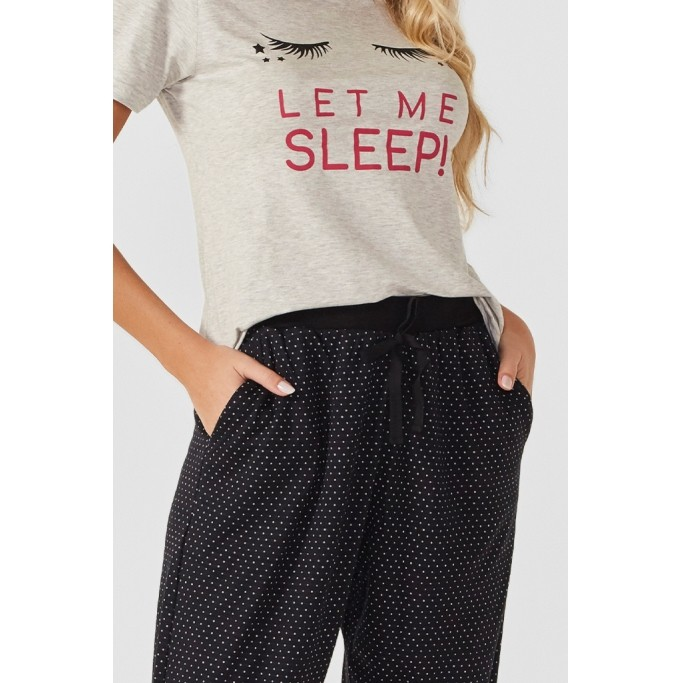Pijama longo manga curta Black Pearl