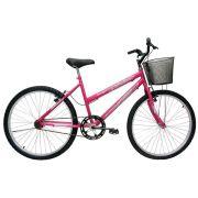 Bicicleta Aro 24 Feminina Bella Com Cesta  Rosa/Pink - Cairu