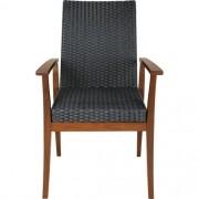 Cadeira de Madeira Tramontina em Jatobá com Estofado Preta em Fibra Sintética de Polietileno com Braços