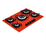 Fogão Cooktop em Vitro Temperado com 5 Queimadores Penta Vermelho - Tramontina