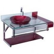 Gabinete Astra Vidro Chopin Elegance Vermelho 90 x 56 cm Sem Sifão Ref GP/CES
