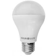 Lampada Ourolux Super Led Bulbo Ouro 9W Bivolt Luz Branca 6500K Em Caixa