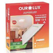 Luminária Ourolux Plafon Led Embutir Quadrada Bivolt 18W Luz Branca 6400K