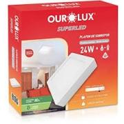 Luminária Ourolux Plafon Led Sobrepor Quadrada Bivolt 24W Luz Branca 6400K