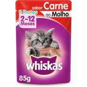 Ração Whiskas Sache 85g Filhote Carne