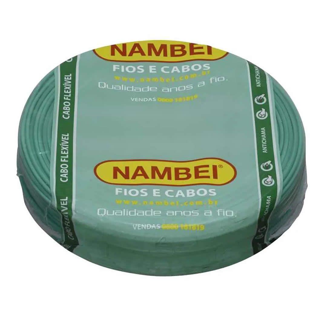 Cabo Flexível Nambei 10 mm 750 V Verde Rolo Com 100 Metros