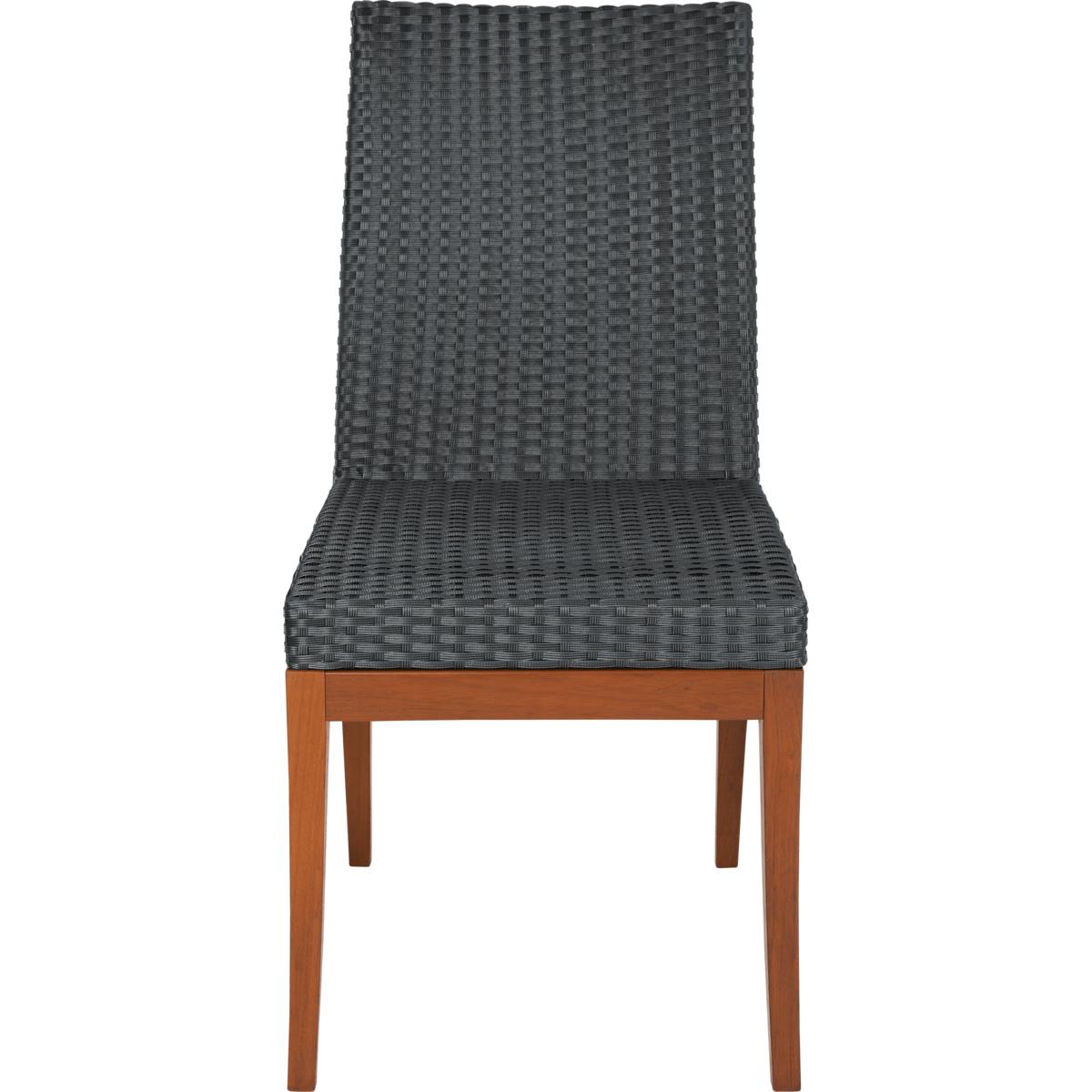 Cadeira de Madeira Tramontina em Jatobá sem Braços com Estofado Preto em Fibra Sintética de Polietileno