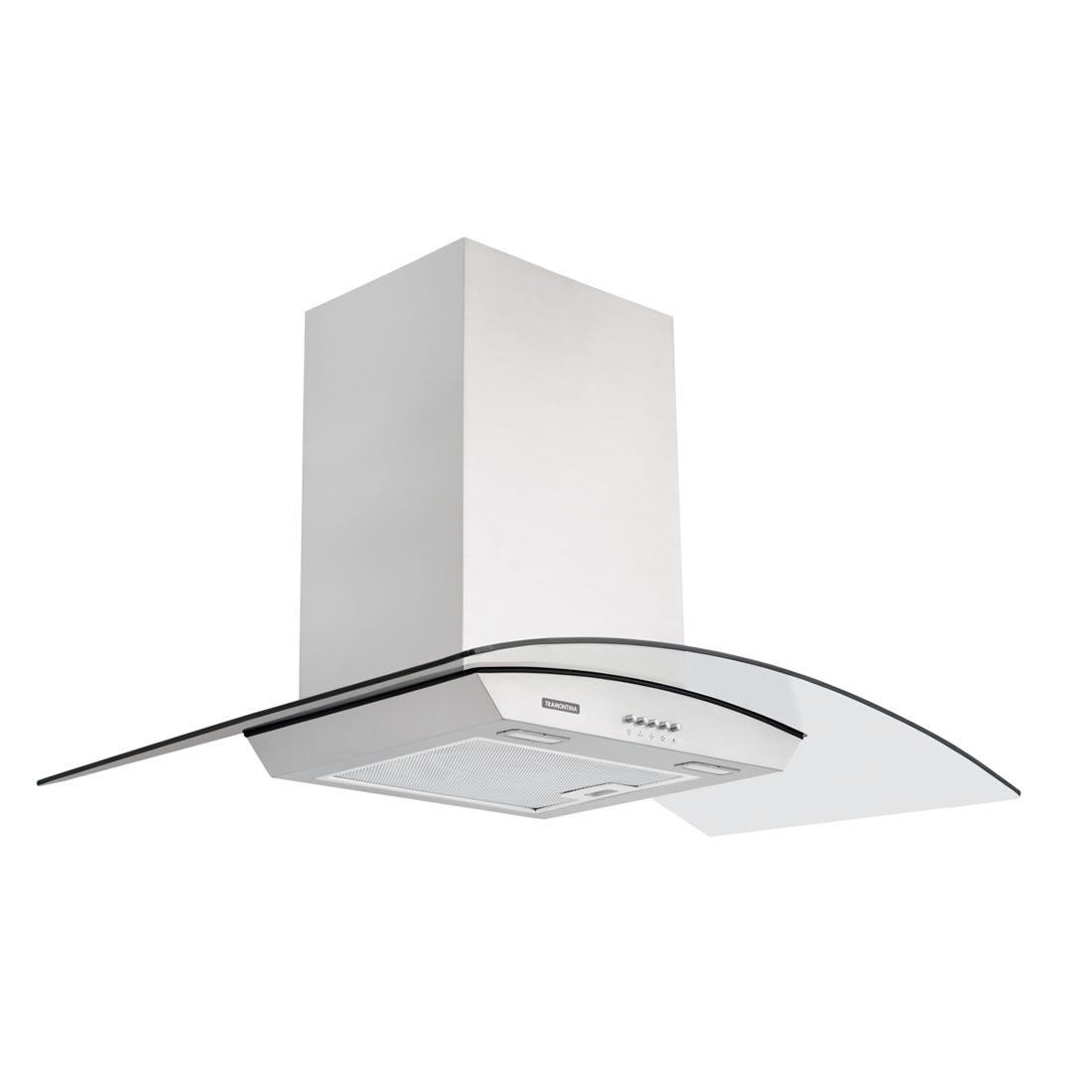 Coifa de parede 90 cm em aço inox + vidro - New Vetro 90 - Tramontina (220V) Ref: 95800/008