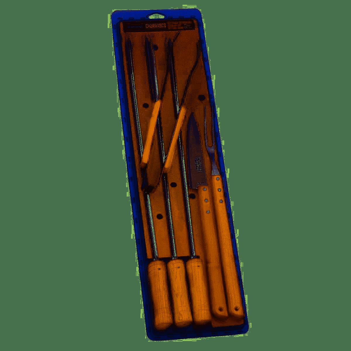 Conjunto Churrasco Inox 6 Peças Tramontina Ref 26499/026