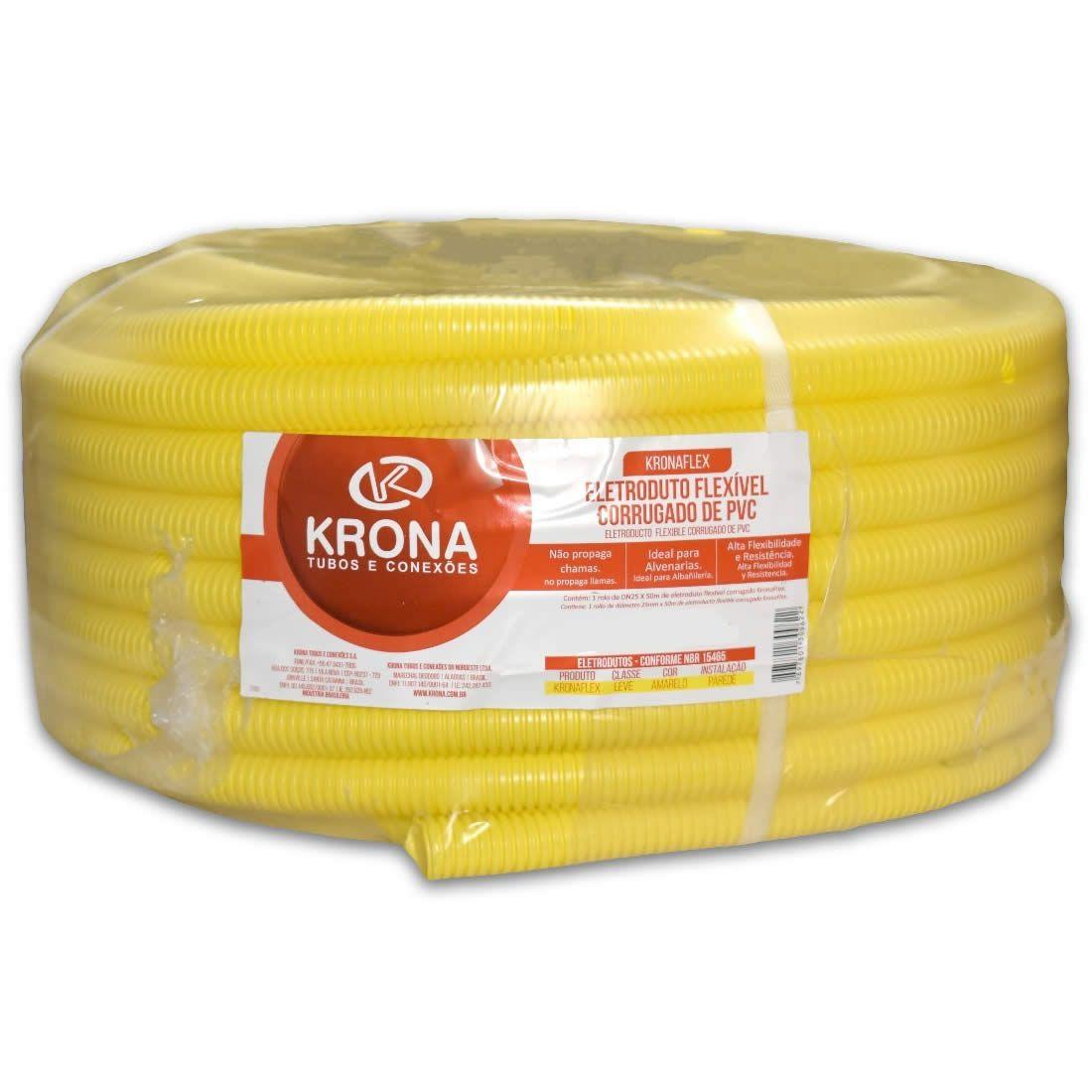 Eletro Corrugado 20mm Rolo Com 50 Metros PVC Krona