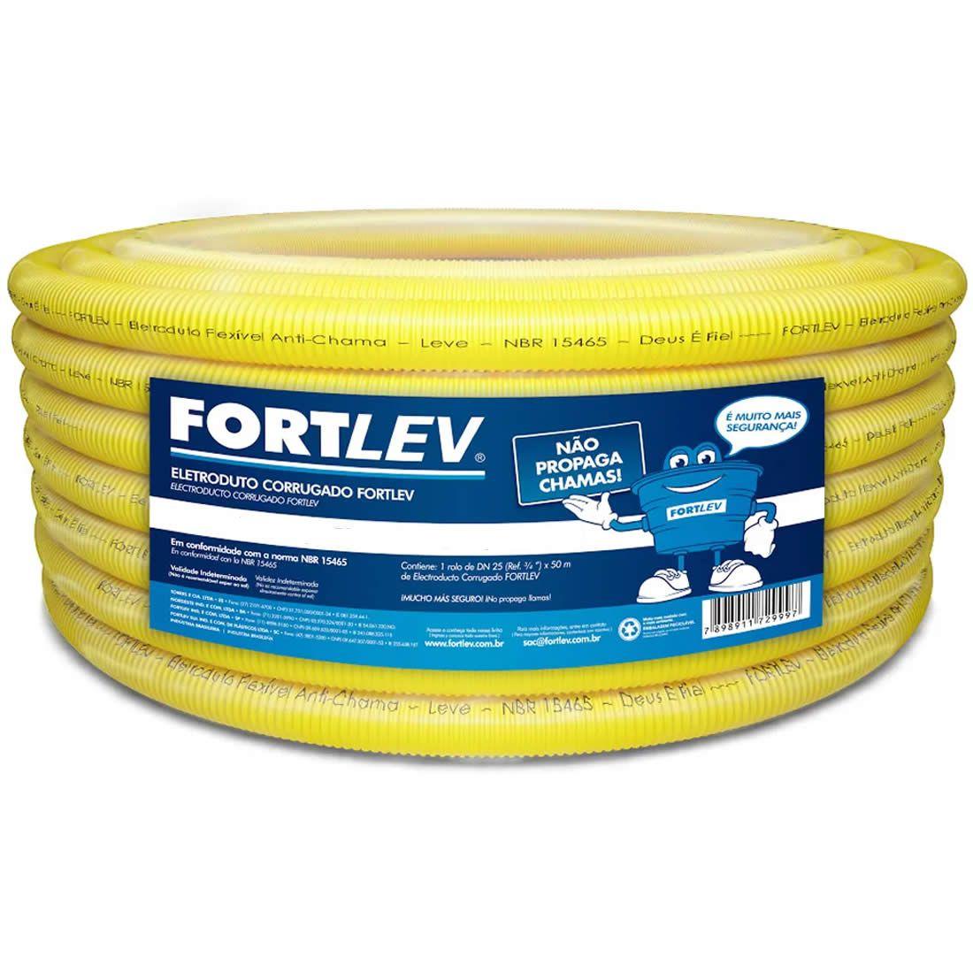Eletro Corrugado 25mm Rolo Com 50 Metros PVC FortLeve