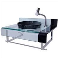 Gabinete Astra Vidro Chopin Elegance Preto 90 x 56 cm Sem Sifão Ref GP/CES