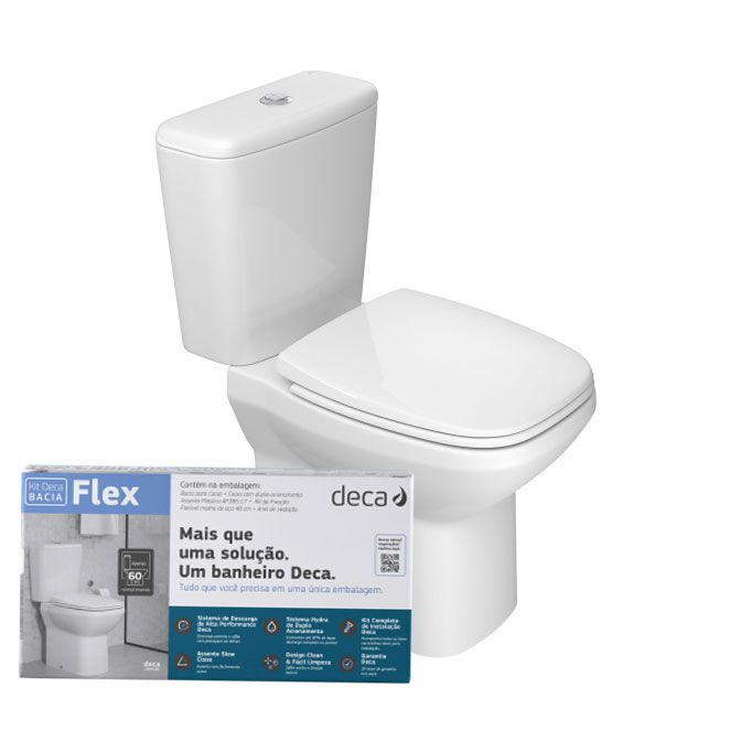 Kit Completo Bacia C/Caixa Acoplada + Acessórios Flex Branco Deca KP.380.17