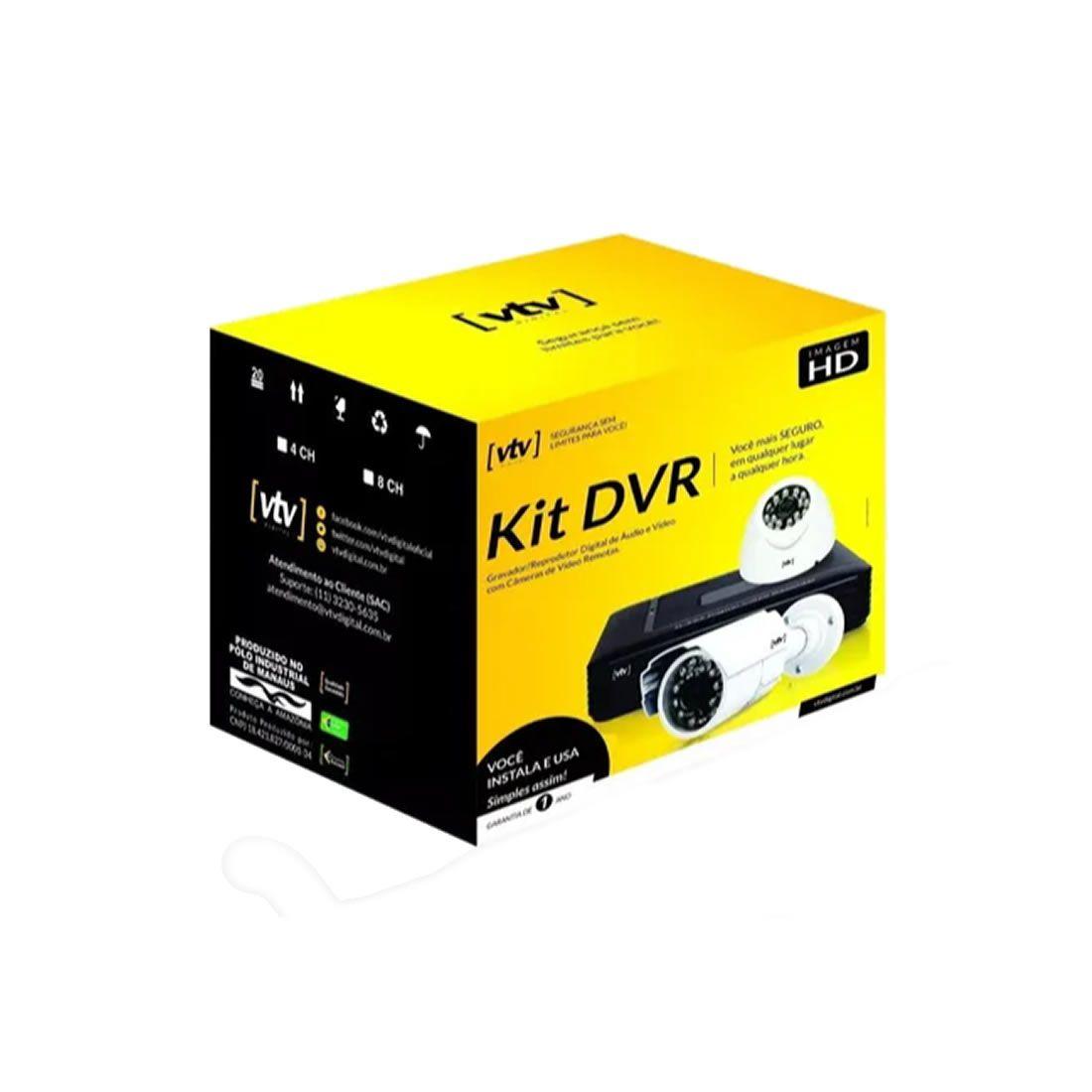 Kit DVR VTV 4 Canais AHD Com HD DE 500GB