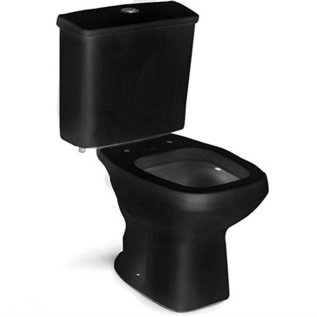 Conjunto Vaso Sanitário com Caixa Acoplada 3/6L Ecoflush City Plus Preto Celite
