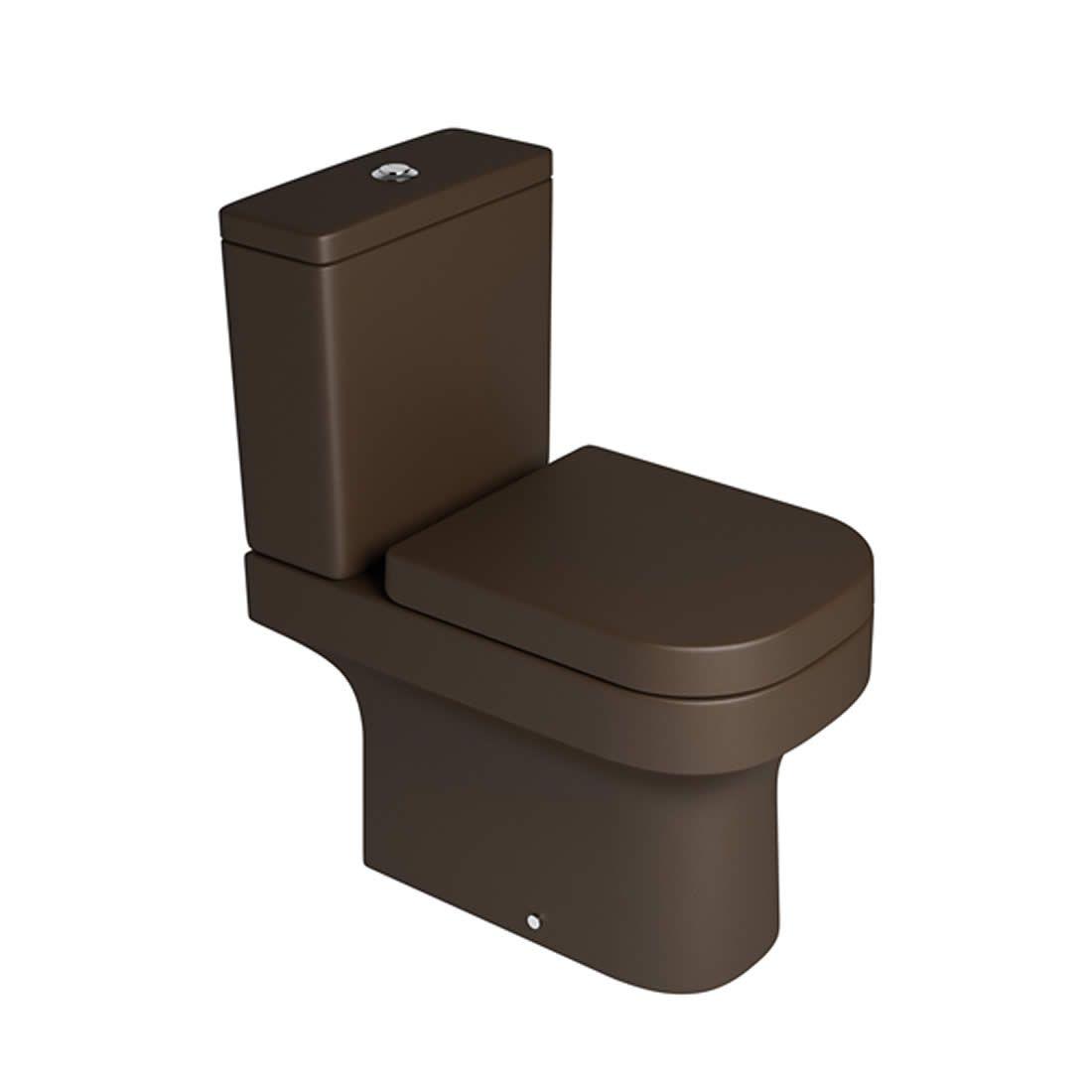 Conjunto Vaso Sanitário com Caixa Acoplada 3/6L Ecoflush Piano Marrom Fosco Deca