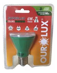 Lampada Ourolux Super Led Par 20 Colors 6W Bivolt 30º Verde