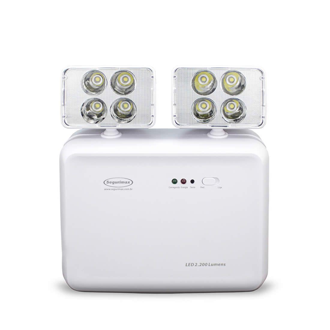 Luminária De Emergência Com 2 Fárois de Leds Bivolt 2.200 Lumens Segurimax