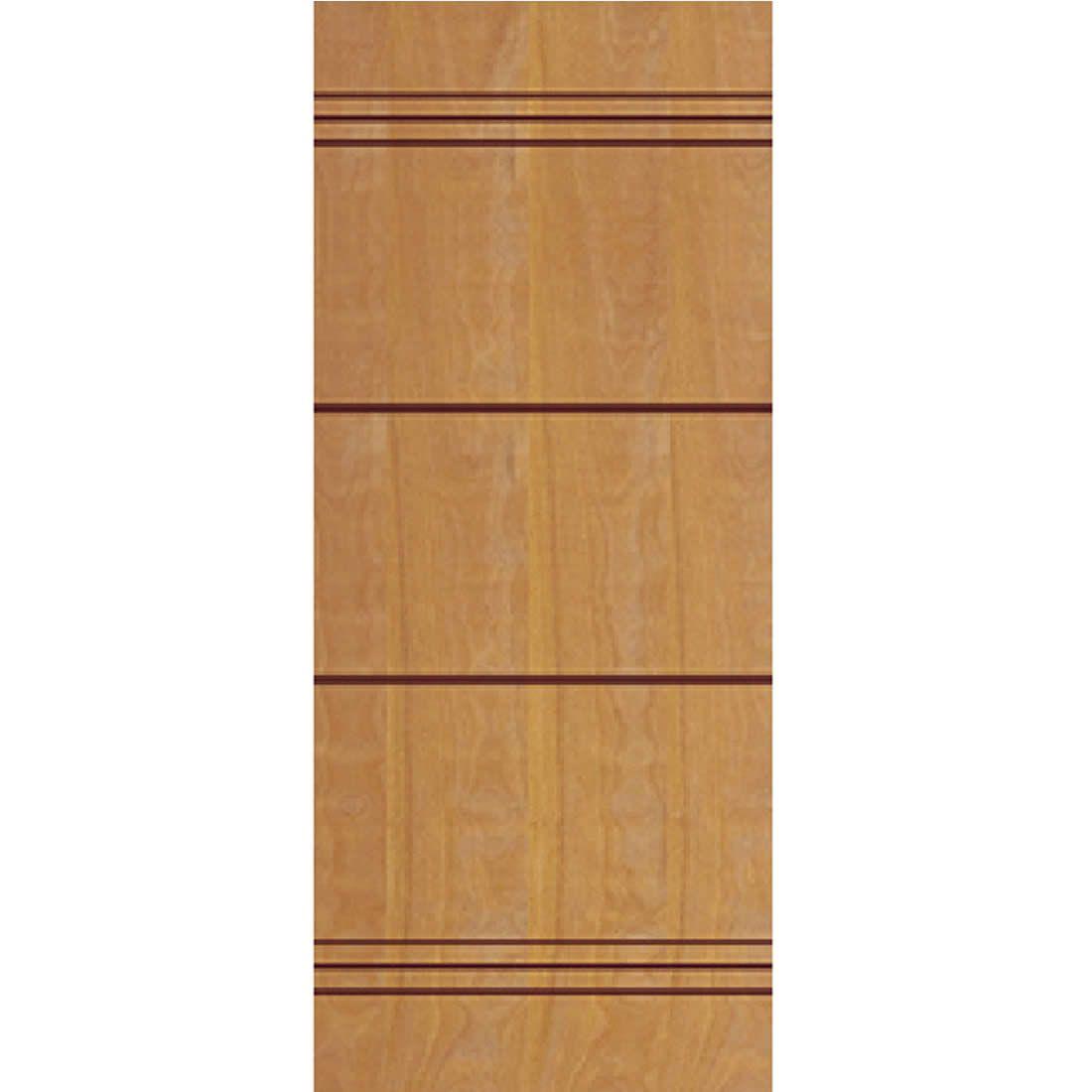 Porta 2,10 x 0,80m em Madeira Curupixa Semi Sólida Modelo 08 Frisada JB Paes