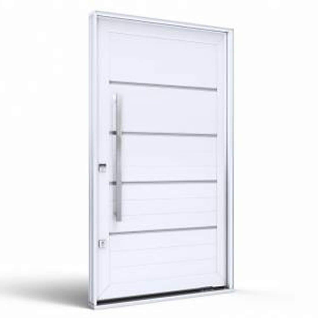 Porta Pivotante de Aluminio Branca C/Friso Abertura Direita Ref: 9190.2