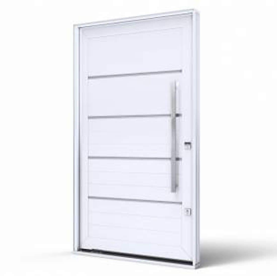 Porta Pivotante de Aluminio Branca C/Friso Abertura Esquerda Ref: 9190.1