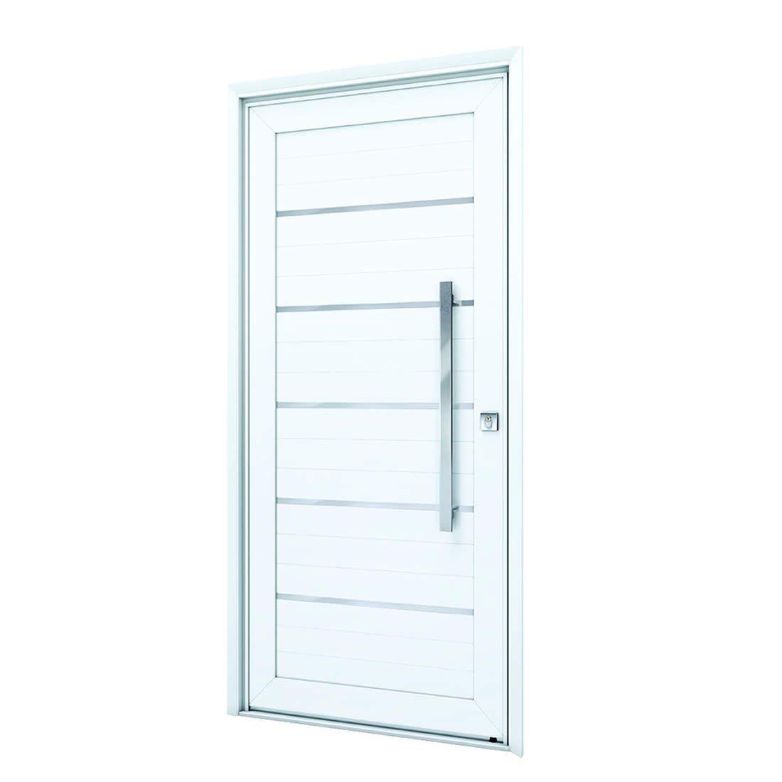 Porta Pivotante de Aluminio Branca C/Friso Abertura Esquerda Ref: 9195.1