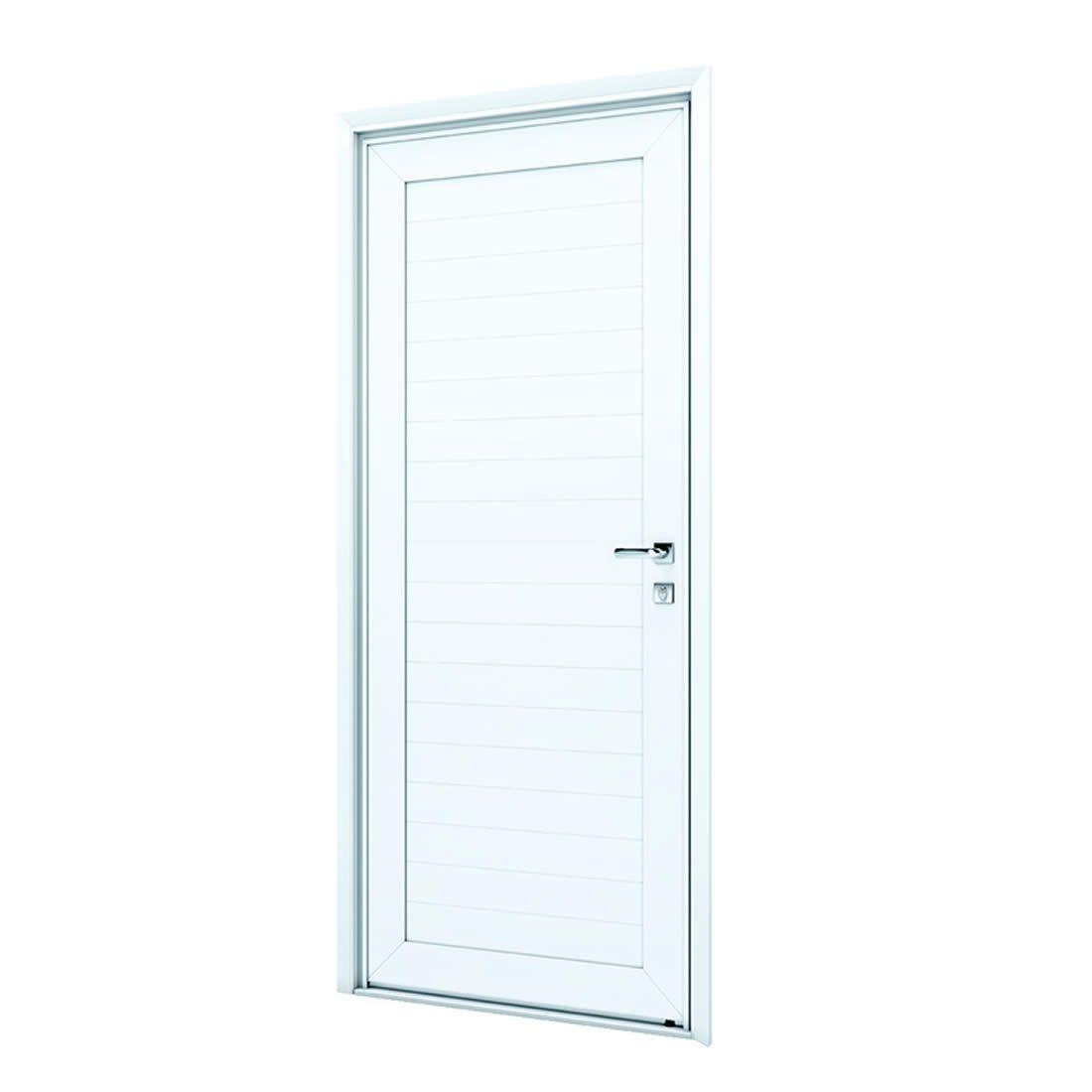 Porta Pivotante de Aluminio Branca S/Friso Abertura Esquerda Ref: 9193.1