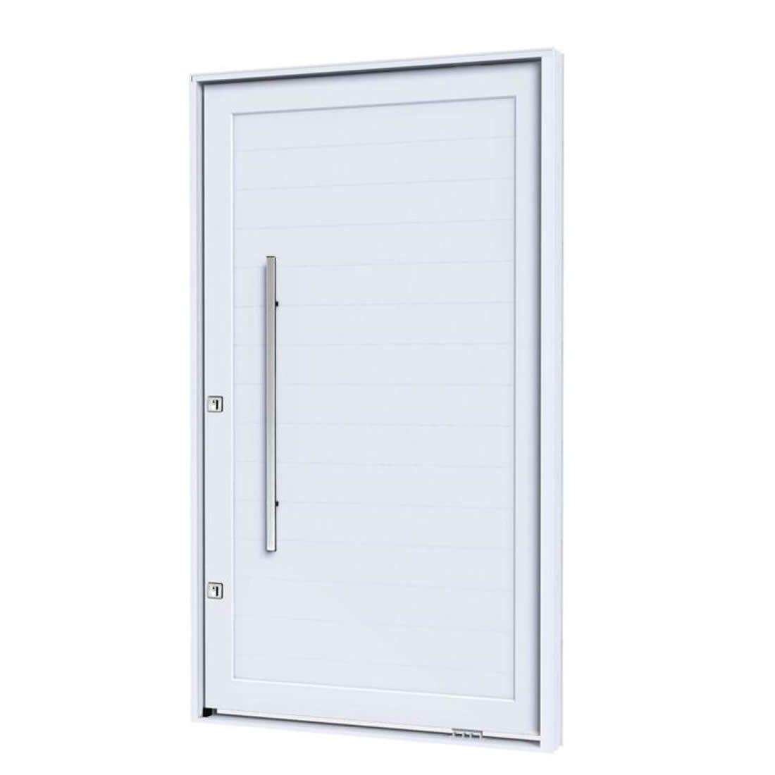 Porta Pivotante de Aluminio Branca Sem Friso Abertura Direita Ref: 9194.2