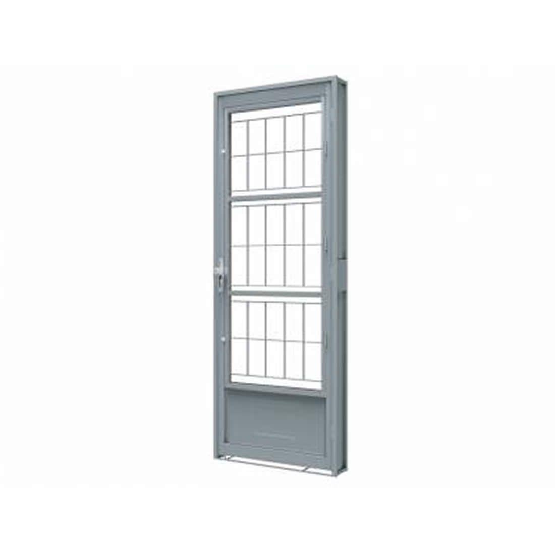 Porta Riobras de Giro de Aço com Postigo Grade Quadrada 215 X 80 Ref 1517.2