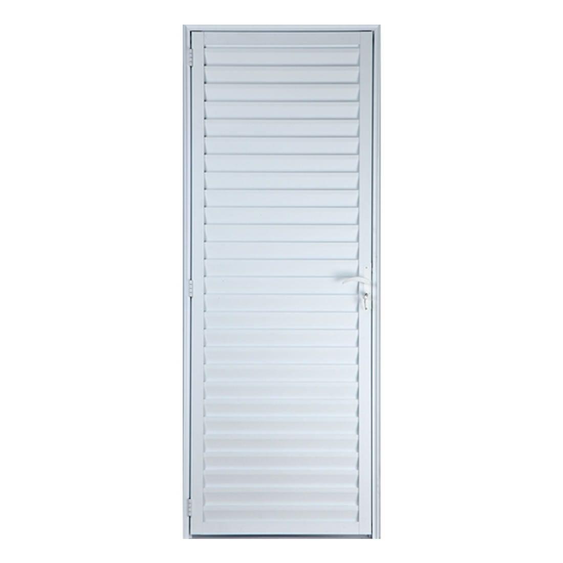 Porta Veneziana Lider 210 x 66 Esquerda Aluminío Branca