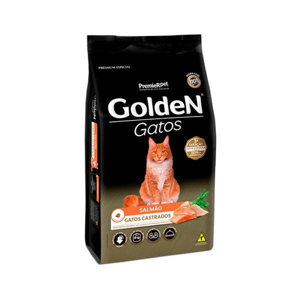 Ração Golden Gatos Adultos Castrados Sabor Salmão 3,0kg