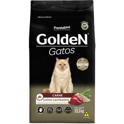 Ração Golden para Adultos Gatos Castrados Sabor Carne 10,1Kg