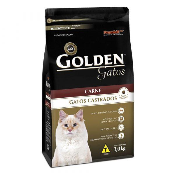 Ração Golden para Gatos Castrados Sabor Carne 3Kg