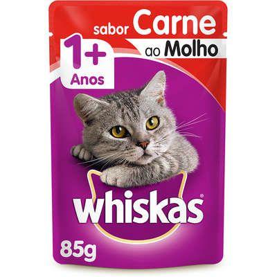 Ração Whiskas Sache 85g Adulto Carne ao Molho