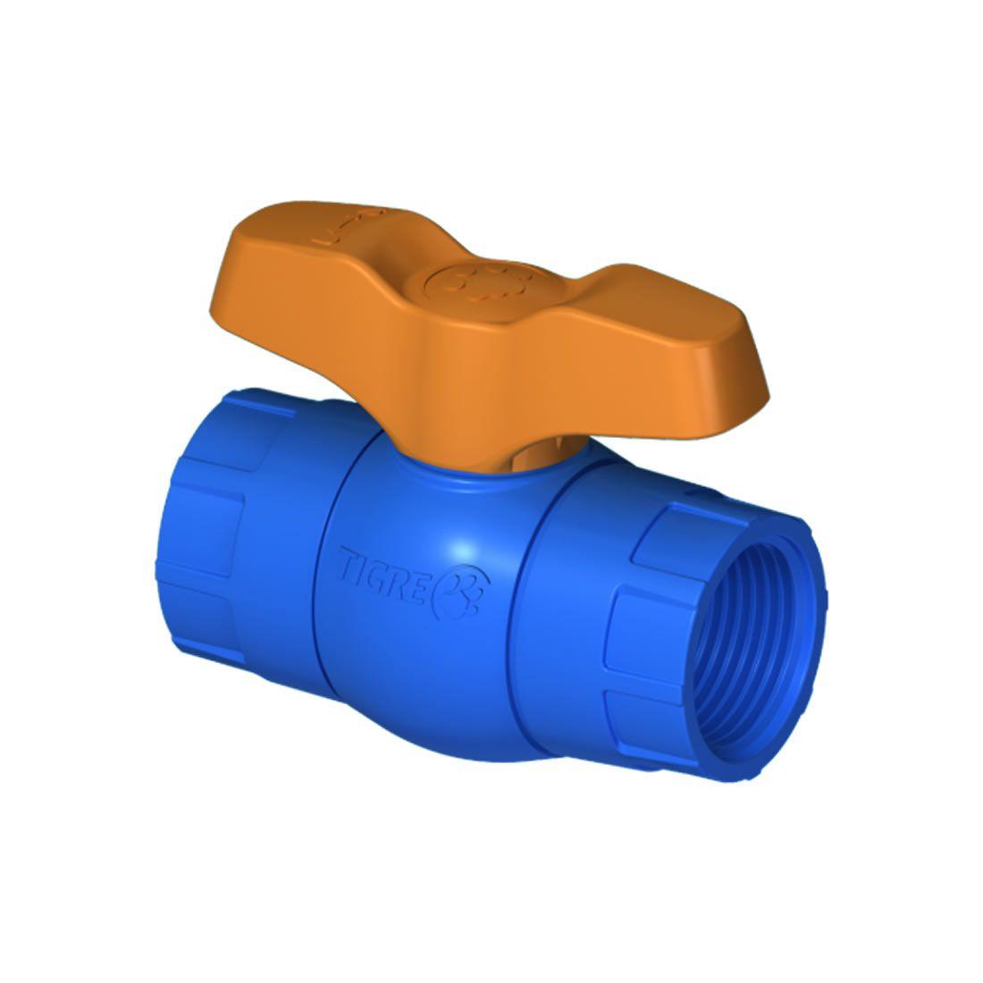 Registro Esfera Roscável Irrigação Pvc Azul Tigre 1.1/2
