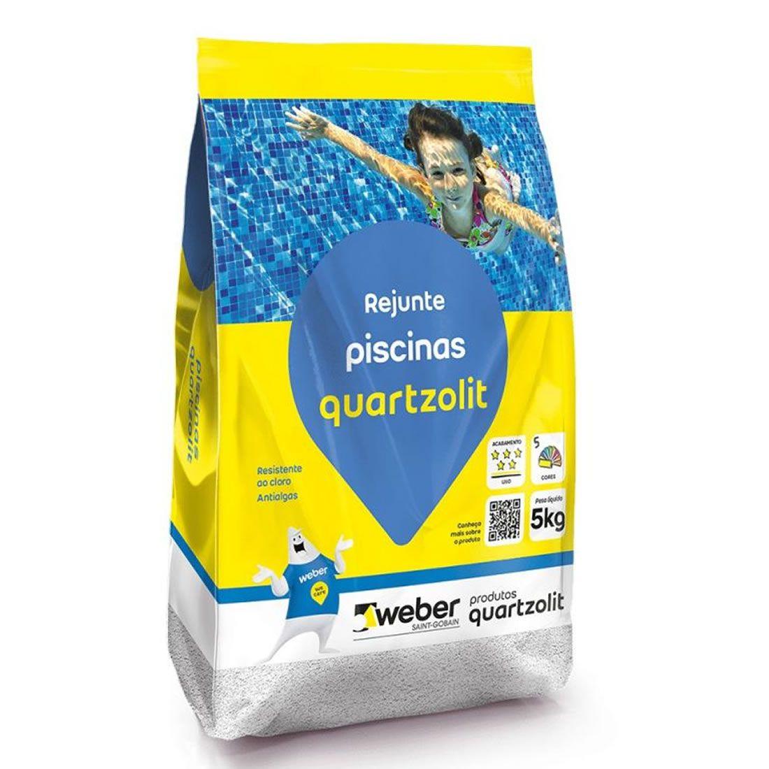 Rejunte Flexível Para Piscina Cinza Platina 5Kg Quartzolit