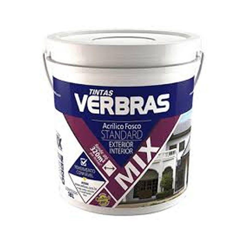 Tinta Verbras Acrílica Mix Standard Fosco Azul Balde Plástico 18 Litros