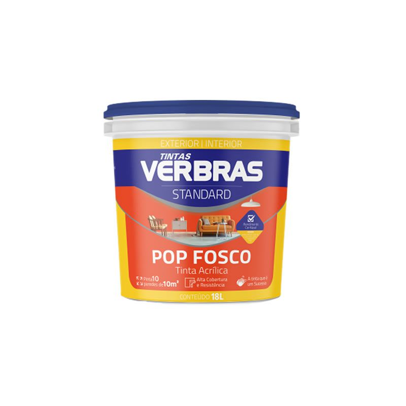 Tinta Verbras Pop Acrílico Fosco Standard Fosco Amarelo Galão Plástico 3,6 Litros